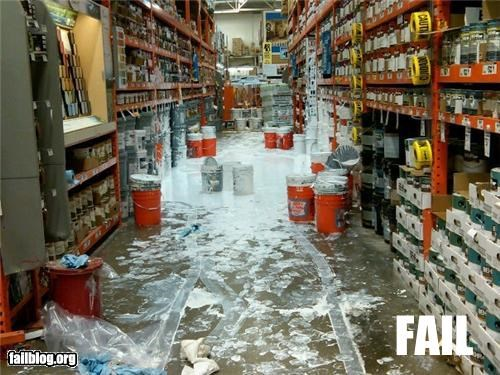 failboat,g rated,home depot,messy,paint,spill,work