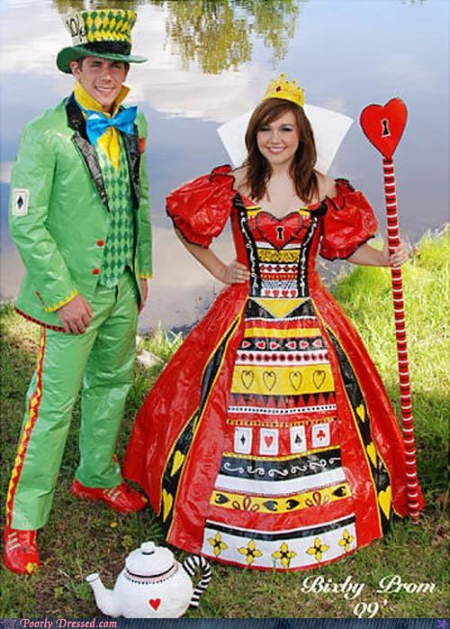 alice in wonderland duct tape prom