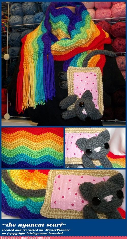 accessories,cat,nyan,Nyan Cat,pop tart,rainbow,scarf