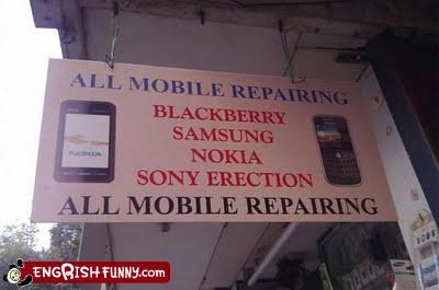 Awkward erection mobile phone