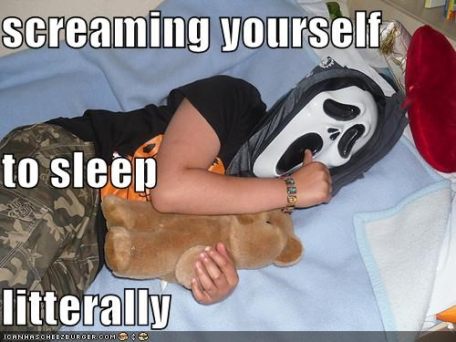 costume,mask,screaming,sleep,weird kid