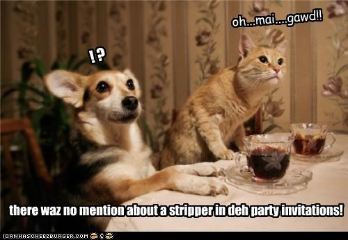 ! ? oh...mai....gawd!! there waz no mention about a stripper in deh party invitations!