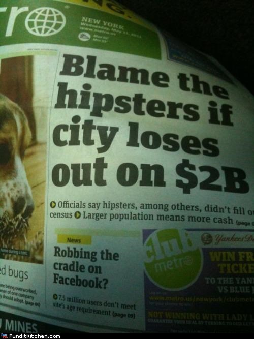 census headlines hipsters new york city newspaper political pictures - 4750606336