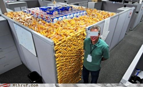 cubicle,hoarding,stockpiling,twinkies