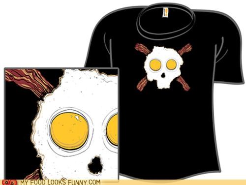 bacon crossbones eggs hardcore shirt skull tee shirt - 4750957312