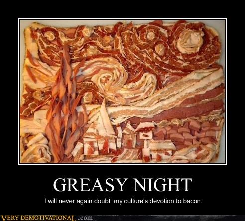 art,bacon,hilarious,starry night