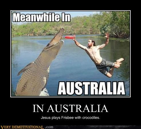 australia,crocodiles,frisbee,hilarious,jesus