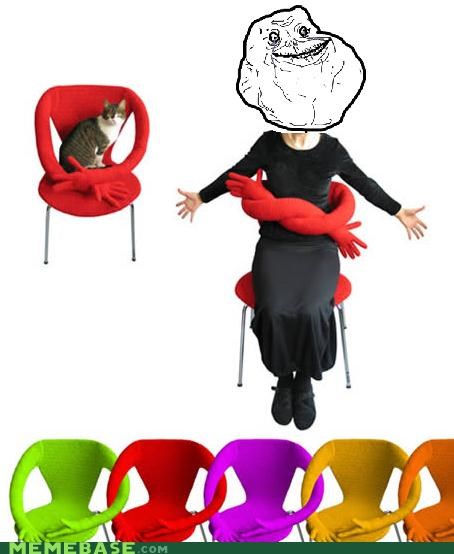 animemes cat chair forever alone hugs - 4751642112