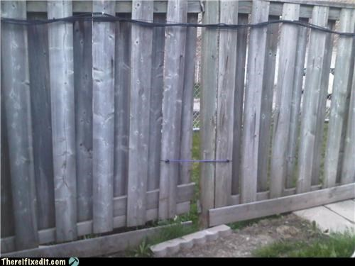 bungee,cheap,fence,laziness,together,wood
