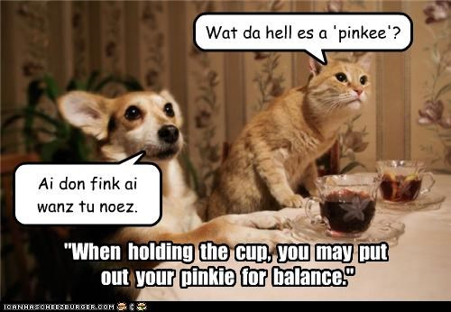 """""""When holding the cup, you may put out your pinkie for balance."""" Wat da hell es a 'pinkee'? Ai don fink ai wanz tu noez."""