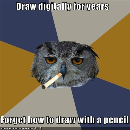 art Art Student Owl bike digital drawing forget pencil