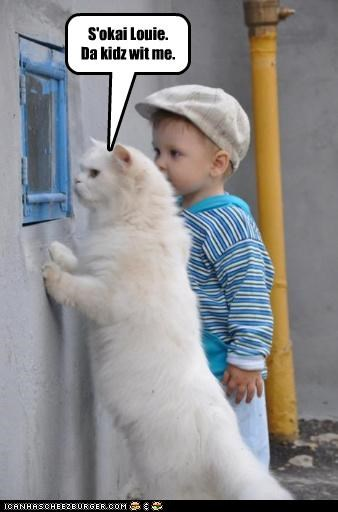 allowed caption captioned cat escort human its-okay kid Okay reassuring toddler with - 4752579328