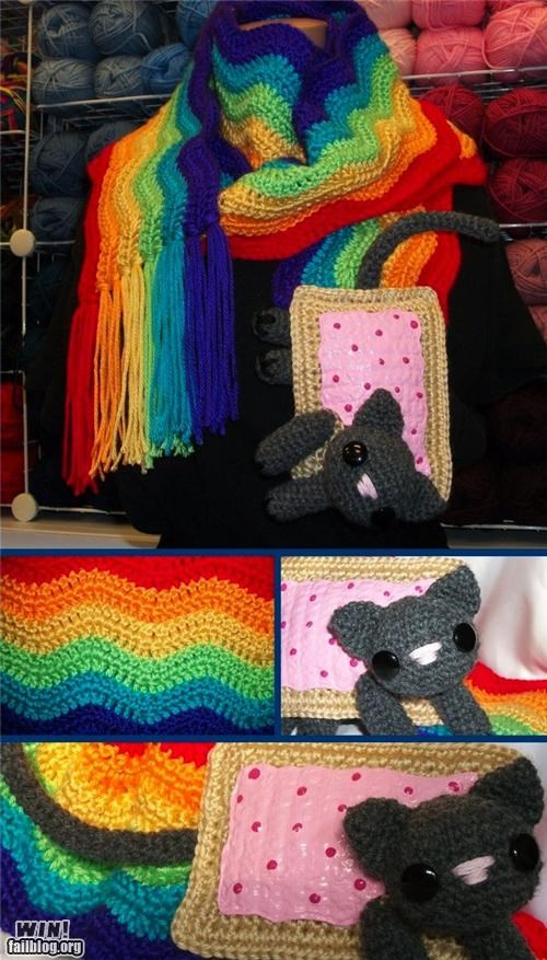 clothes crafts Memes Nyan Cat poptarts scarf - 4753459200