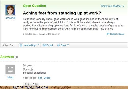 feet hurt simple Yahoo Answer Fails