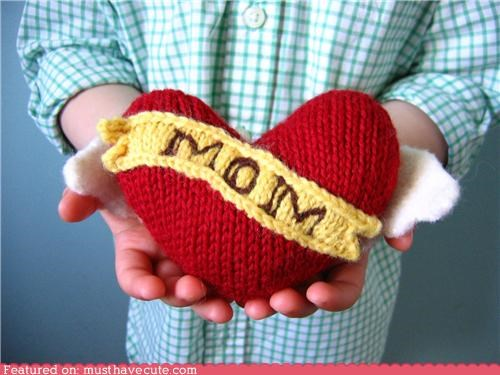 banner heart Knitted mom Pillow soft tattoo yarn - 4754070528