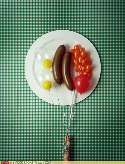 art,Balloons,beans tomato,breakfast,eggs,plate,ribbons,sausage