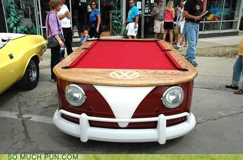 car carpool literalism pool pool table table van volkswagen volkswagon