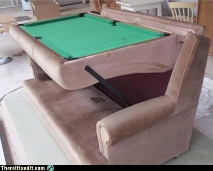couch,dual use,pool,pool table,sofa,sports