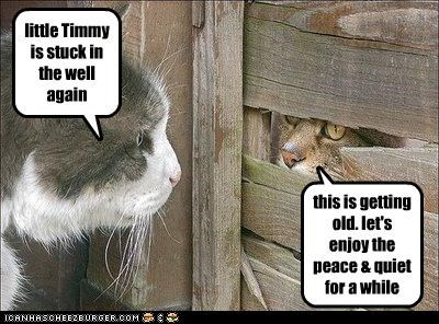 little Timmy is stuck in the well again this is getting old. let's enjoy the peace & quiet for a while