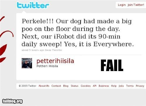 classic failboat g rated poop robot roomba tweet twitter - 4754662912