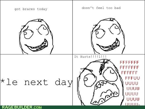 braces,hurt,ouch,pain,Rage Comics,ugh