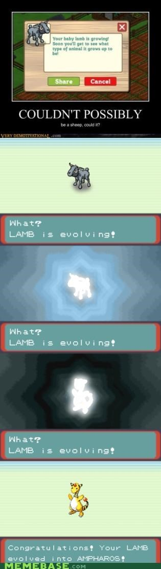 evolving,Farmville,lamb,sheep,very demotivational,video games