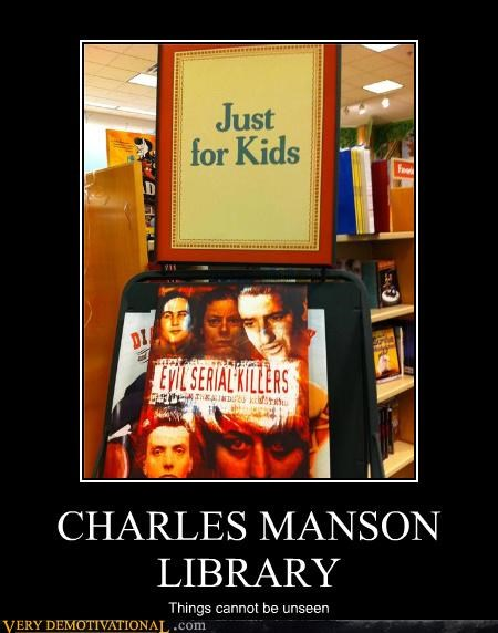 charles manson,hilarious,kids,library,wtf