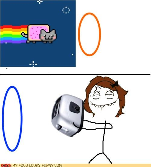 anticipation,comic,nyancat,Portal,Rageguy,toaster