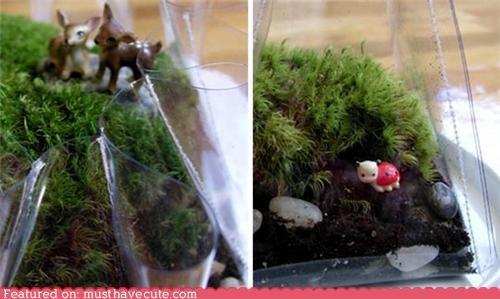 figurines,moss,plants,plastic,sew,terrarium