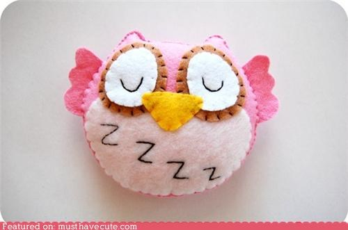 felt,Owl,pink,Plush,sleepy,Zzzzz