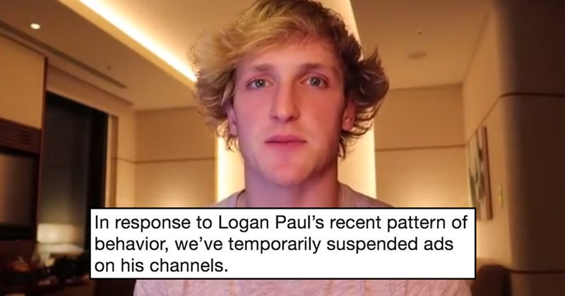 Logan Paul suspended advertising youtube, dead rat, tide pods.