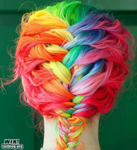 awesome,braid,colouring,dyed hair,hairporn,rainbows
