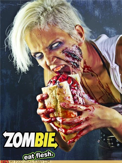 bloody brain eat flesh parody sadwich Subway zombie