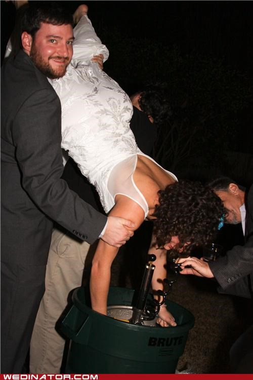 bride keg stand,funny wedding photos