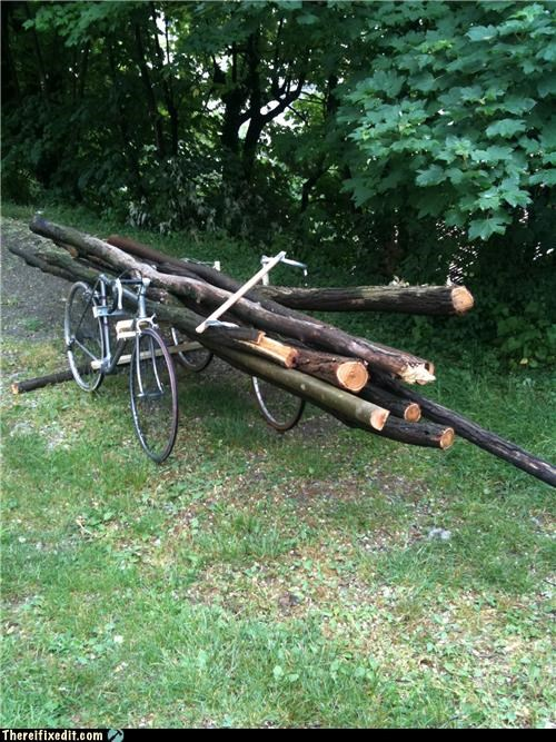 bicycle bike hipster holding it up weird wood wtf - 4761413888