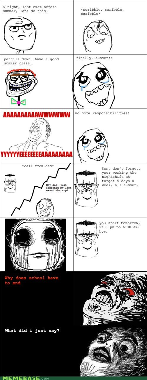 job,lame,Rage Comics,school,summer