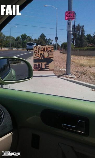 failboat,garage sale,g rated,signs,spelling,spelling mistake