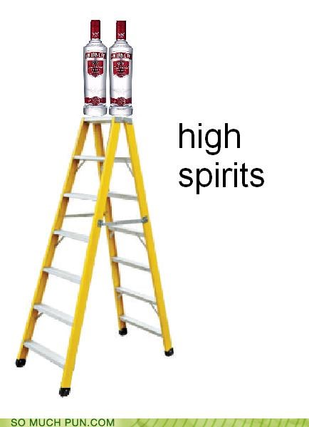 alcohol,double meaning,high,ladder,literalism,spirits,vodka
