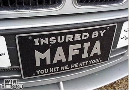 car insurance clever novelty plate the Mafia - 4763358720
