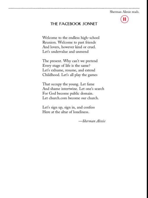 Poetry 2.0,Sherman Alexie,The Facebook Sonnet