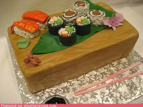 cake,epicute,fish,fondant,seaweed,sushi,sweets