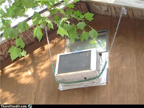 air conditioner,holding it up,hose,safety first