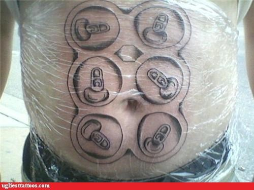 stomach six pack puns funny g rated Ugliest Tattoos - 4765915392