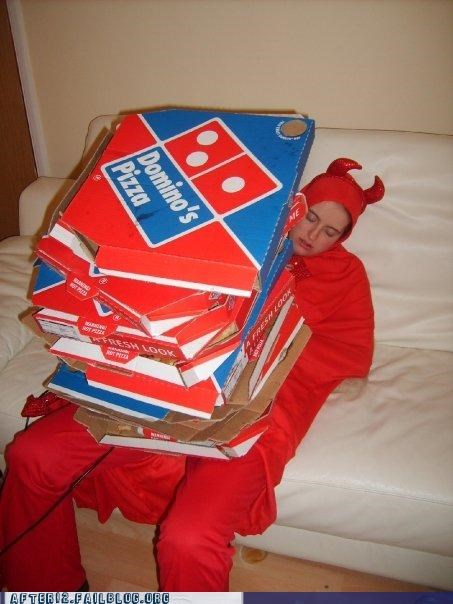 costume,Dominoes,noid,passed out,pizza