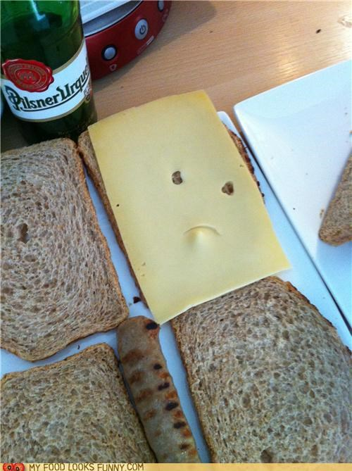 beer bread cheese face sandwich sausage unhappy - 4766135808