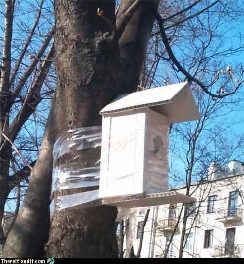 birdhouse,construction,holding it up,laziness,tape