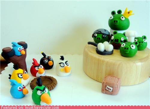 angry birds,birds,cake topper,eggs,game,pig,rivalry,video game