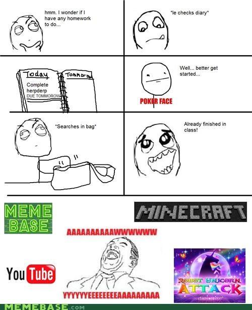 aw yeah,bag,hw,memebase,minecraft,procrastination,Rage Comics