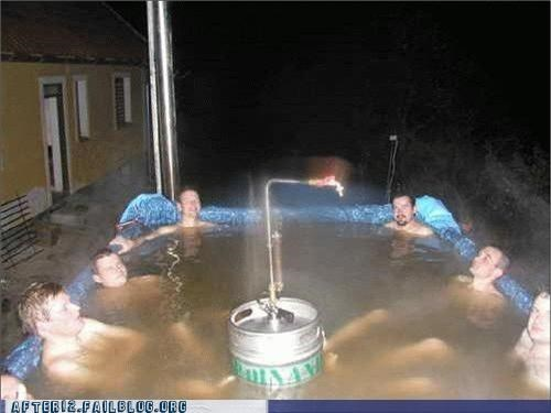 bad idea,beer,dehydration,hot tub