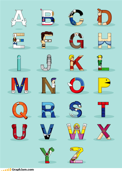 alphabets,nintendo,video games